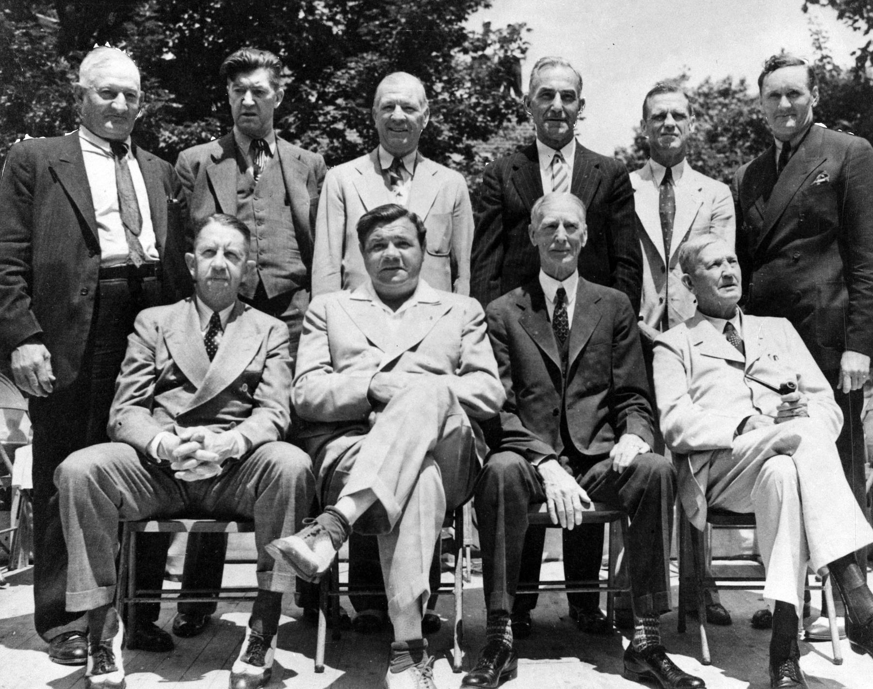 All of the Hall of Fame's living members (except Ty Cobb) sit for a photograph on June 12, 1939 in Cooperstown - BL-4253-89 (National Baseball Hall of Fame Library)