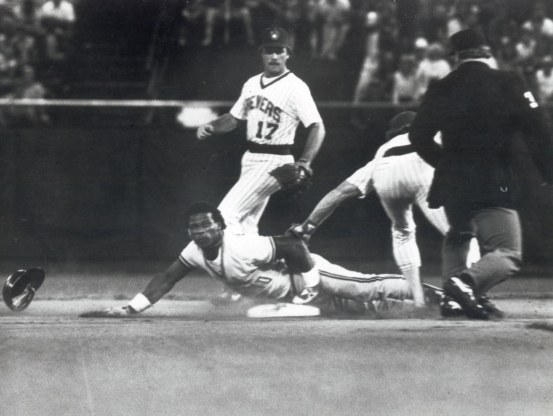 Rickey Henderson setting the stolen base record. By the end of the 1983, Henderson became the first and only player to have two back to back seasons with more than 100 stolen bases. BL-1455-83 (National Baseball Hall of Fame Library)