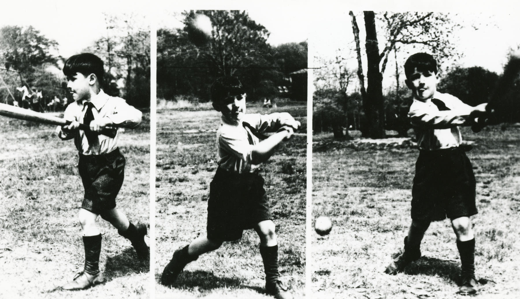 Koufax batting as a young boy. BL-190.72a (Rochester Times-Union / National Baseball Hall of Fame Library)