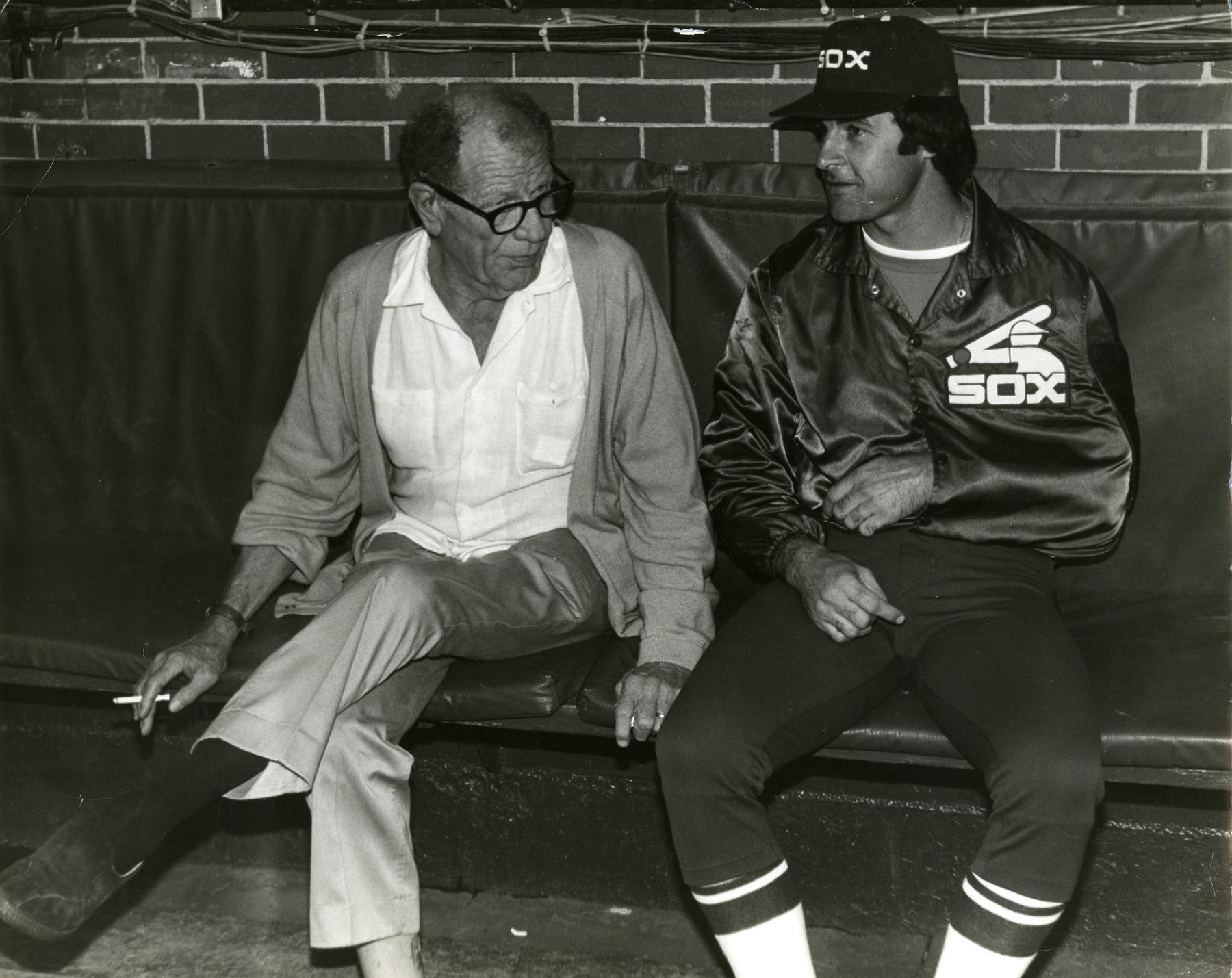 Tony La Russa and Bill Veeck in 1980.  Tony had dislocated his shoulder breaking up a fight the day before. (National Baseball Hall of Fame Library)