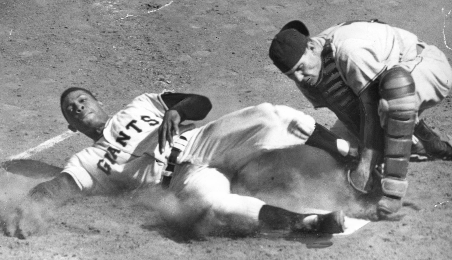 Willie Mays tagged out sliding into home plate, 1954. BL-4158.68HT1b (National Baseball Hall of Fame Library)
