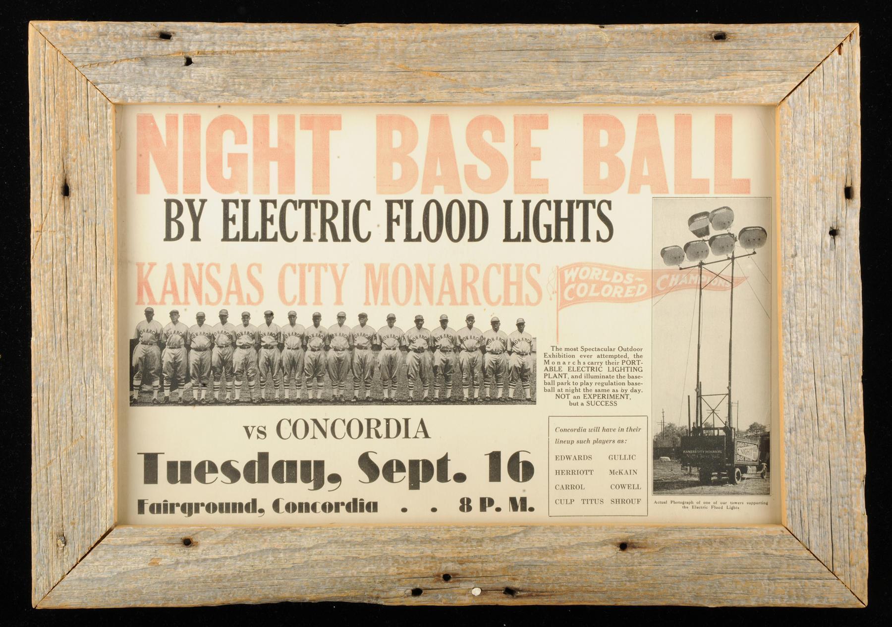 Night baseball poster, Kansas City Monarchs vs Concordia, c. 1928 - B-165-88 (National Baseball Hall of Fame Library)