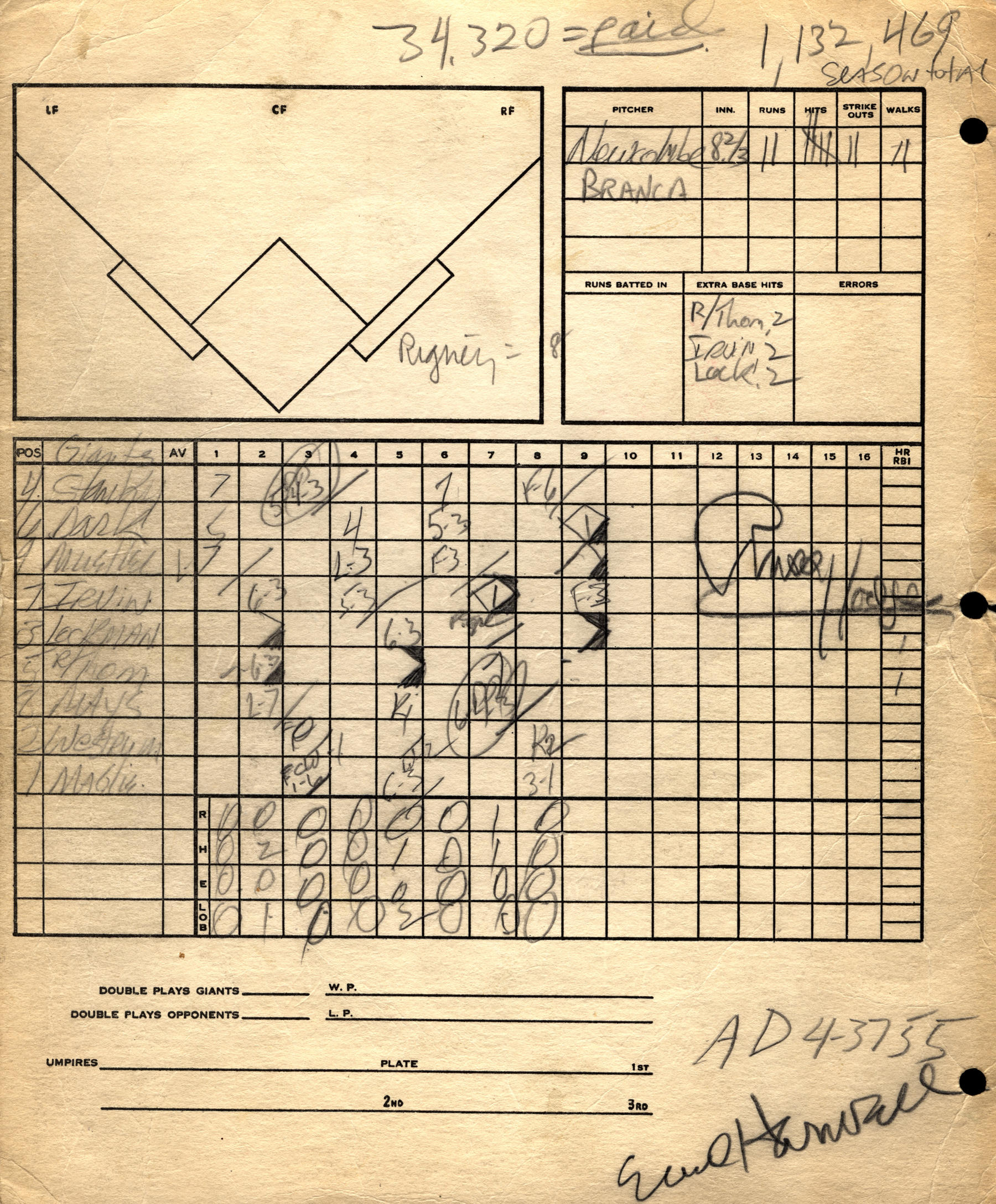 Scorecard from Game 3 of the 1951 National League playoff, BL-1466.70 (National Baseball Hall of Fame Library)