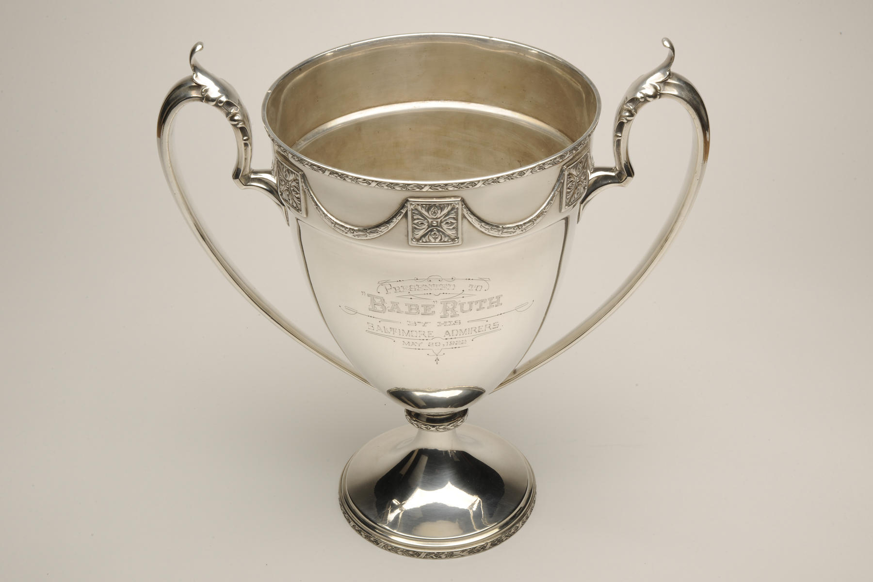 "Trophy presented to Babe Ruth by his ""Baltimore admirers"" on May 20, 1922,when he was allowed back to the Yankees after being suspended. B-64.49 (Milo Stewart, Jr. / National Baseball Hall of Fame)"