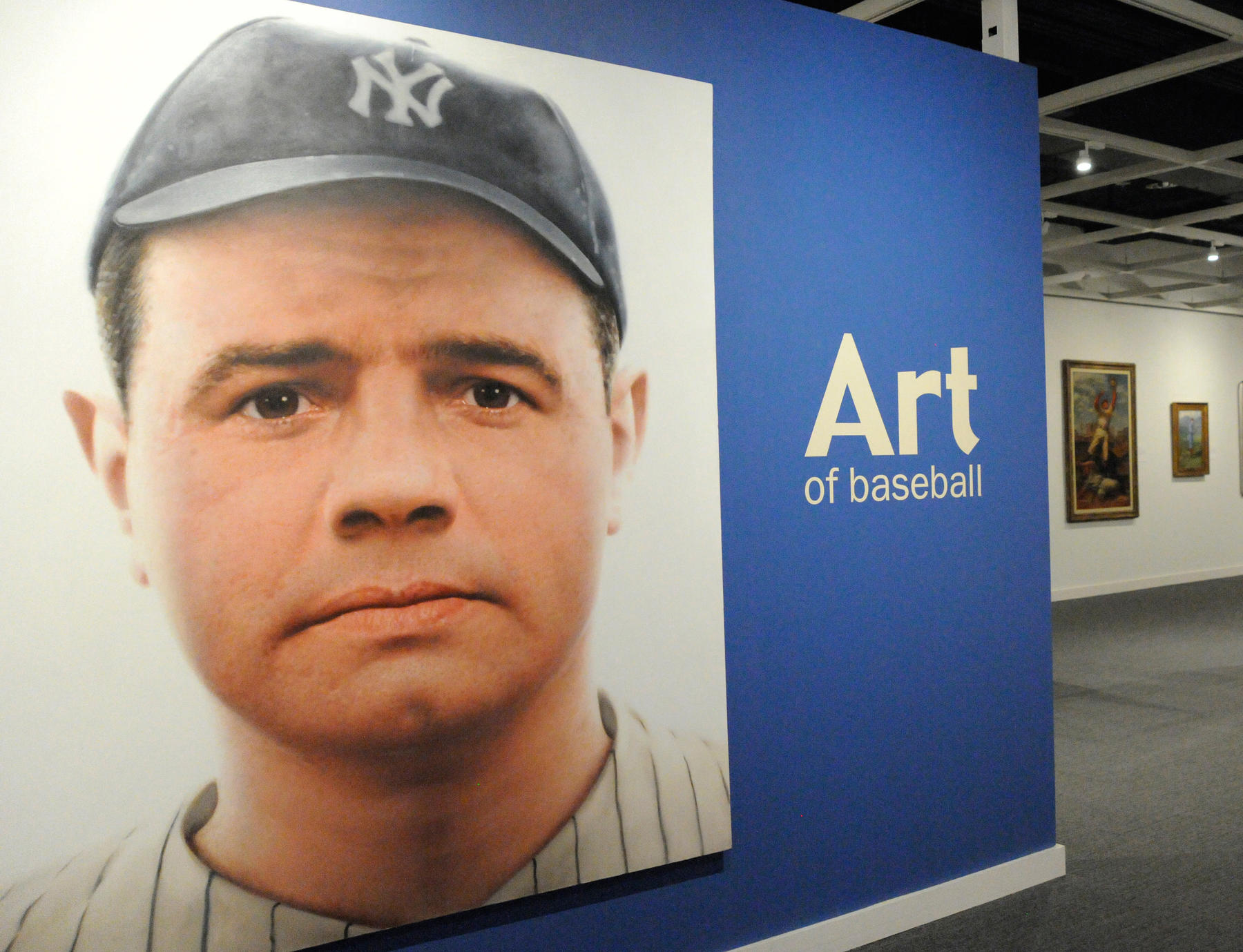 This painting of Babe Ruth by the artist Rossin hangs in the Museum's Art Gallery, welcoming visitors to a world of baseball and artistry. (Milo Stewart, Jr. / National Baseball Hall of Fame)