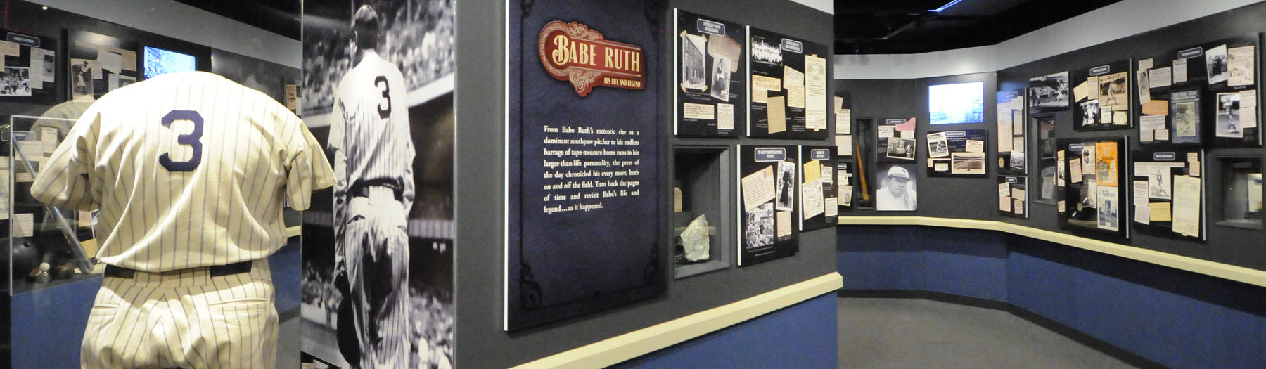 A partial view of the updated Babe Ruth exhibit, 2014. (Milo Stewart, Jr. / National Baseball Hall of Fame)