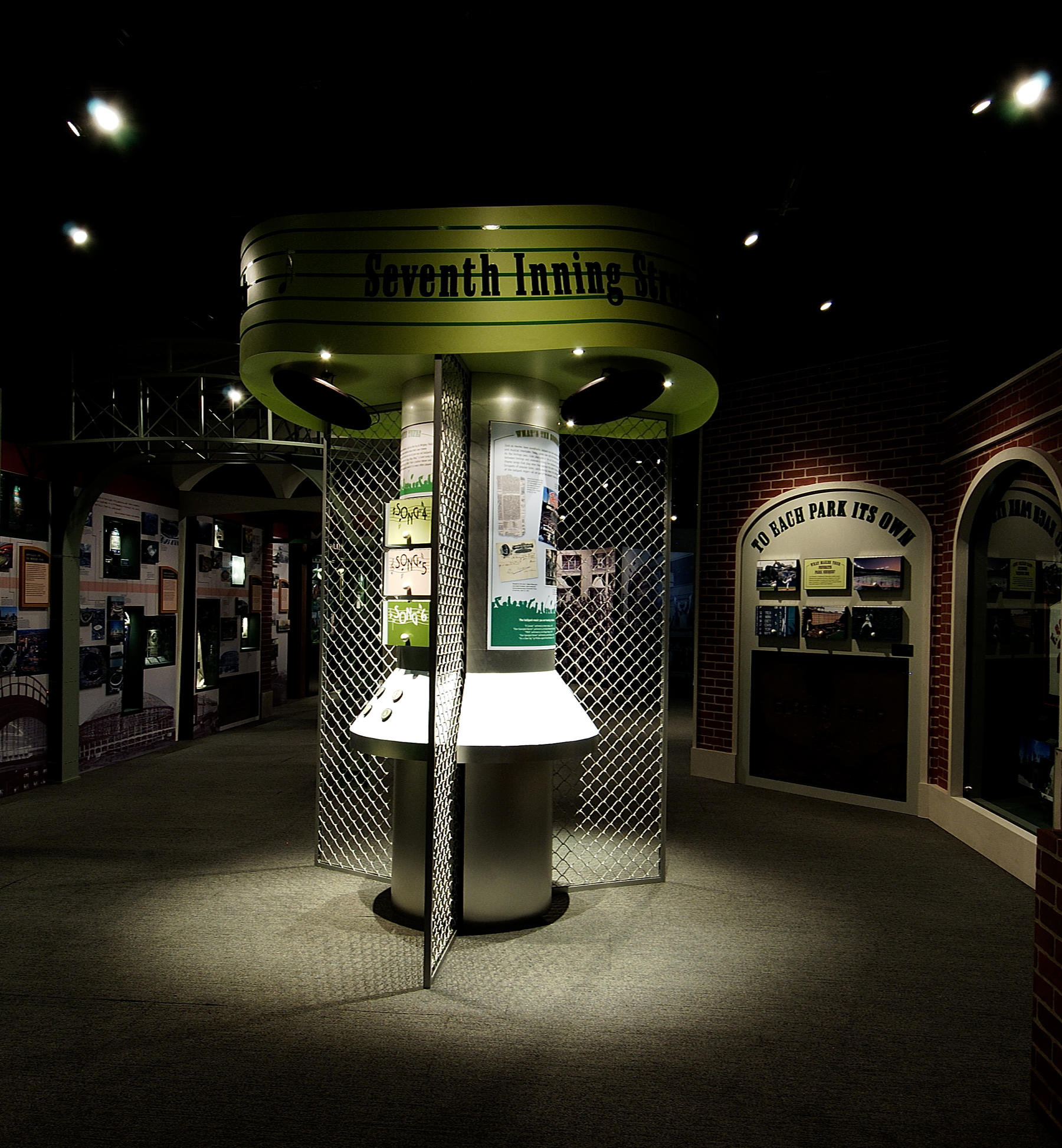 The Museum's Sacred Ground exhibit features an interactive song element where visitors can experience some of baseball's greatest hits. (Milo Stewart, Jr. / National Baseball Hall of Fame)