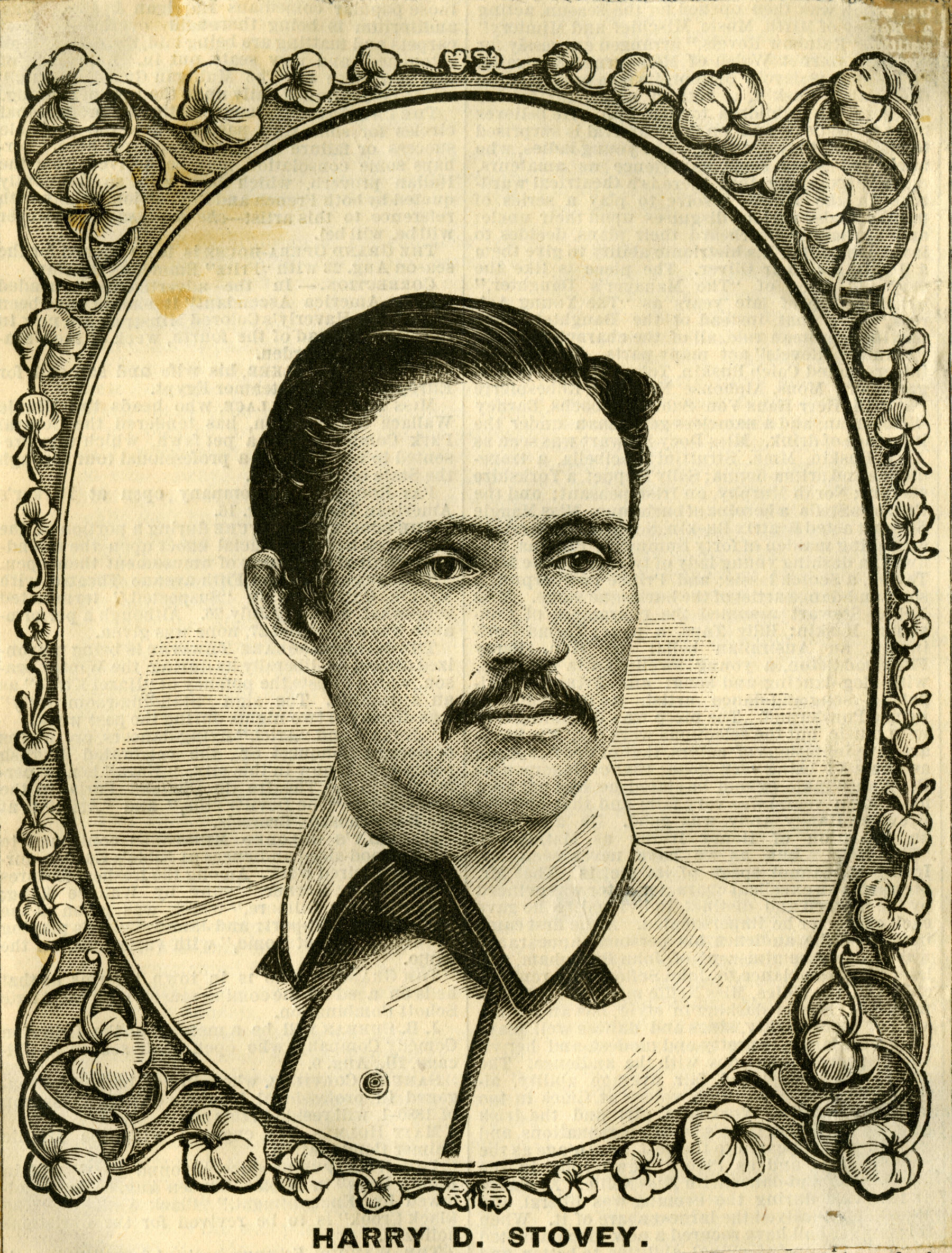 Wood engraving depicting Harry Stovey published in the New York Clipper August 7, 1880. BA SCR 57 (National Baseball Hall of Fame Library)