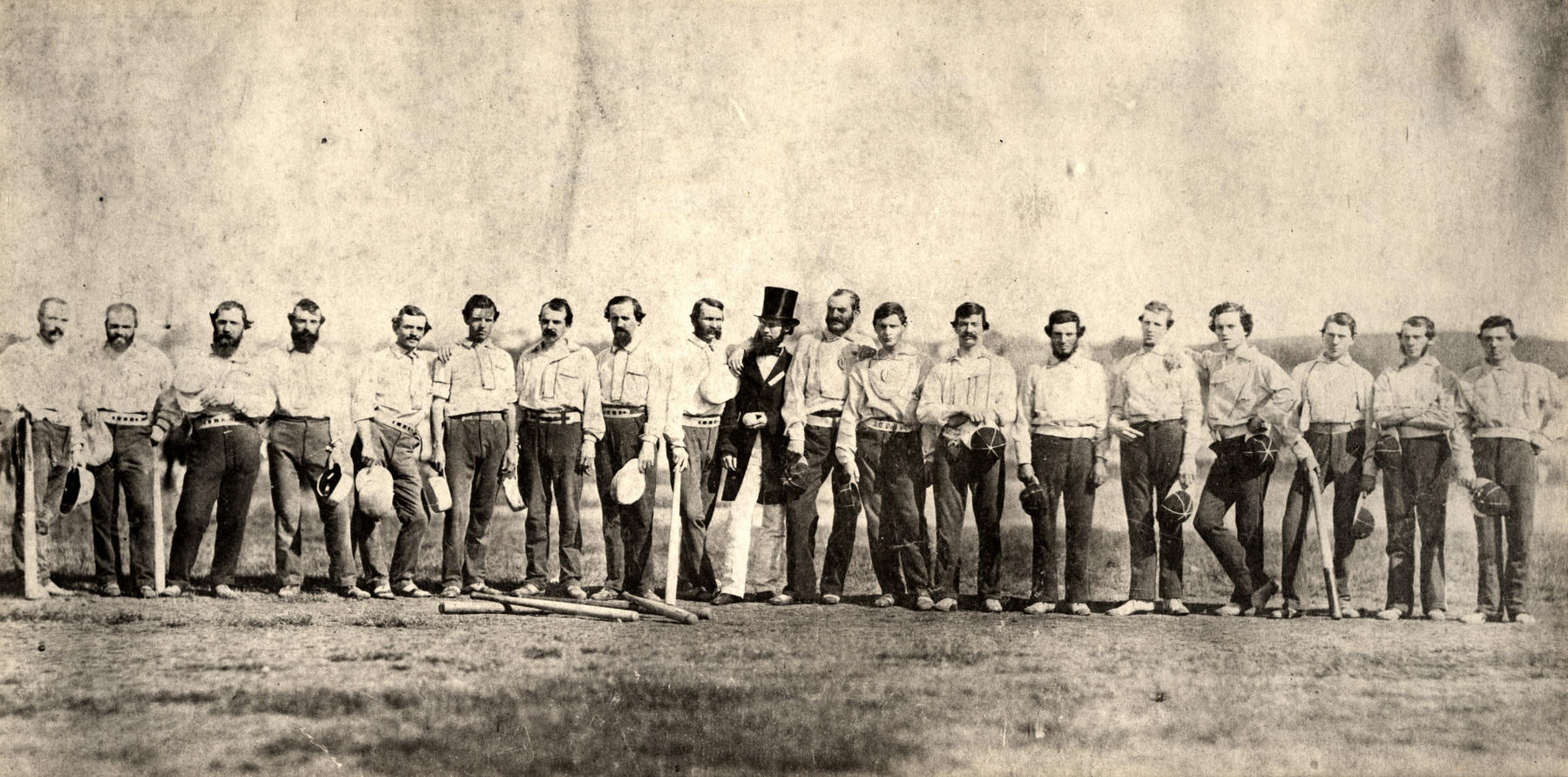 Adams played for the NY Knickerbockers from 1845-1862. The Knickerbockers are seen here in 1859 with the Brooklynn Excelsiors. BL-73.37 (National Baseball Hall of Fame Library)