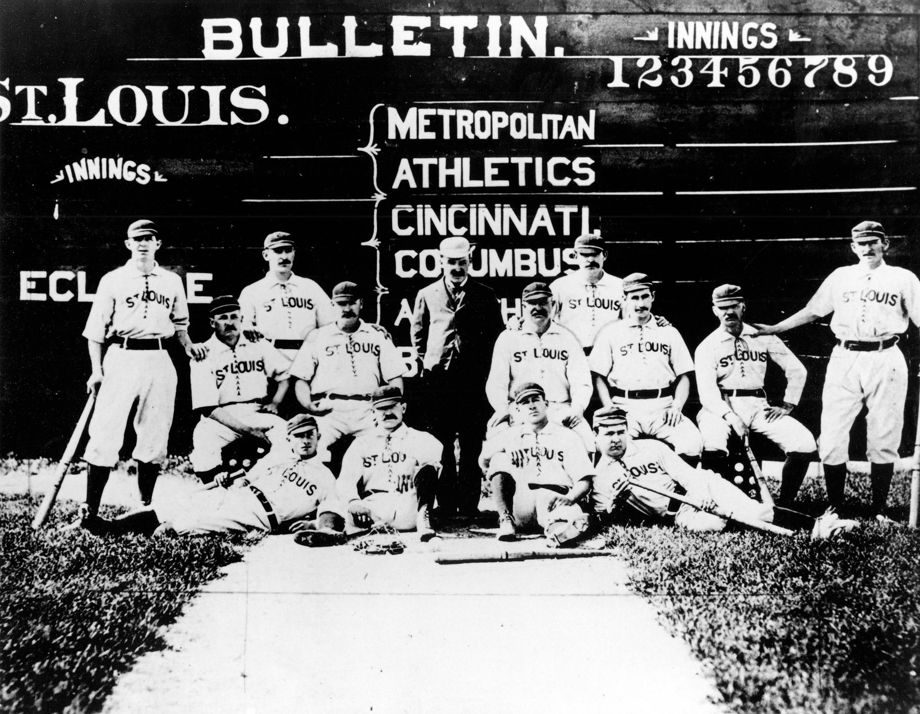 The St. Louis Browns, with von der Ahe in the center, pose for a team photograph. BL-4594.96 (National Baseball Hall of Fame Library)