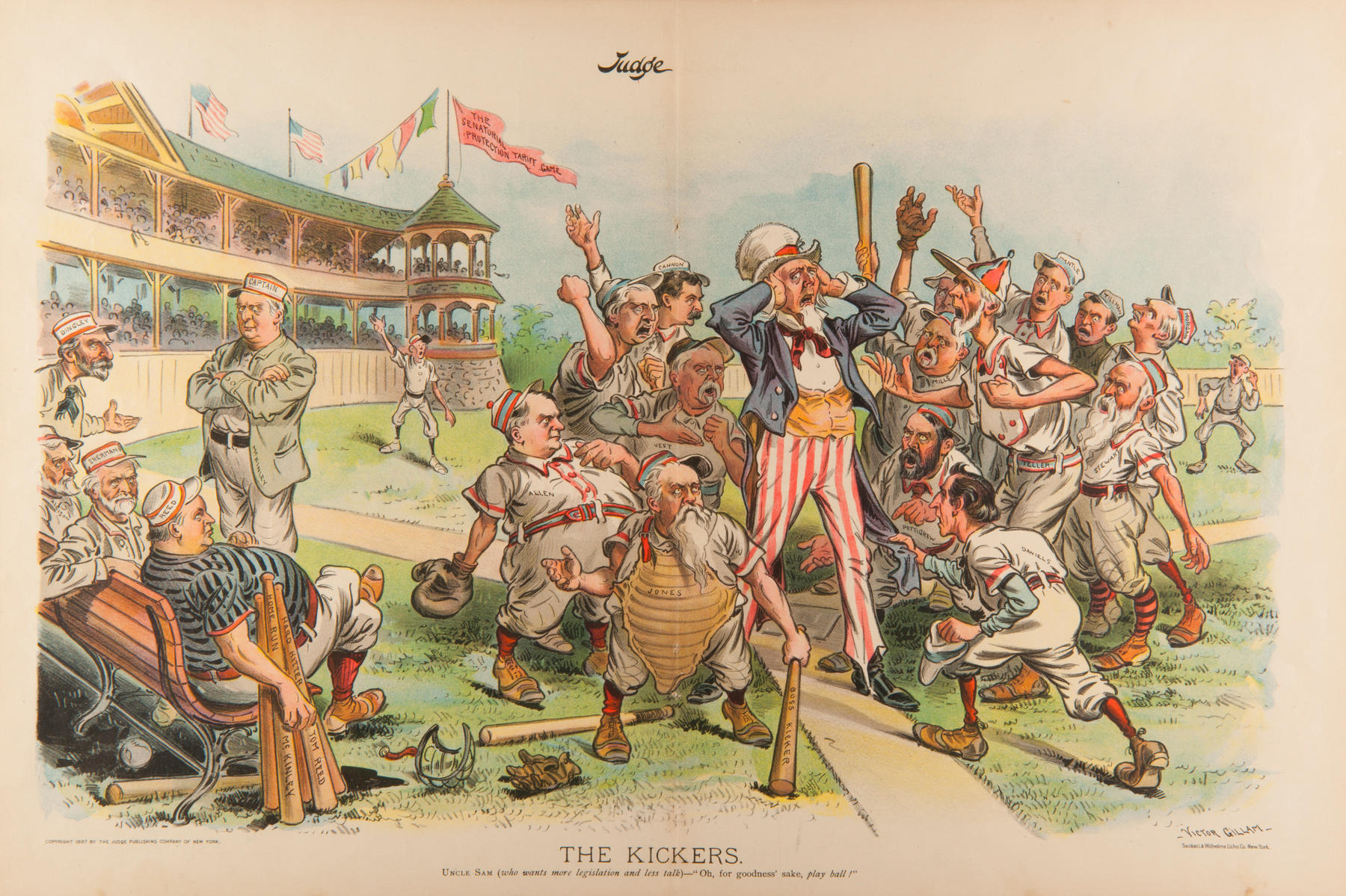 """In this 1897 lithograph from Judge, """"The Kickers,"""" cartoonist Victor Gillam depicts various United States senators arguing with Uncle Sam, the umpire. This coincided with the fierce Senate debate over proposed tariff revisions. (BL-387.2001 – Milo Stewart Jr./National Baseball Hall of Fame Library)"""