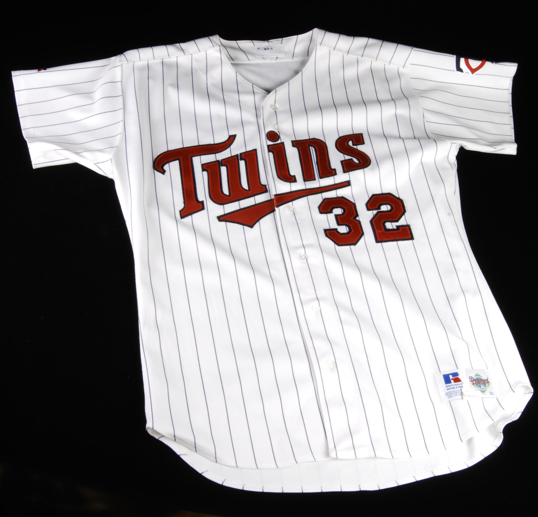 Dave Winfield wore this Twins jersey on Sept. 16, 1993 when he singled off the Athletics' Dennis Eckersley in the ninth inning for this 3,000th career hit. Winfield became just the 19th player to reach the 3,000-hit mark. - B-3-94 (Milo Stewart, Jr. / National Baseball Hall of Fame)
