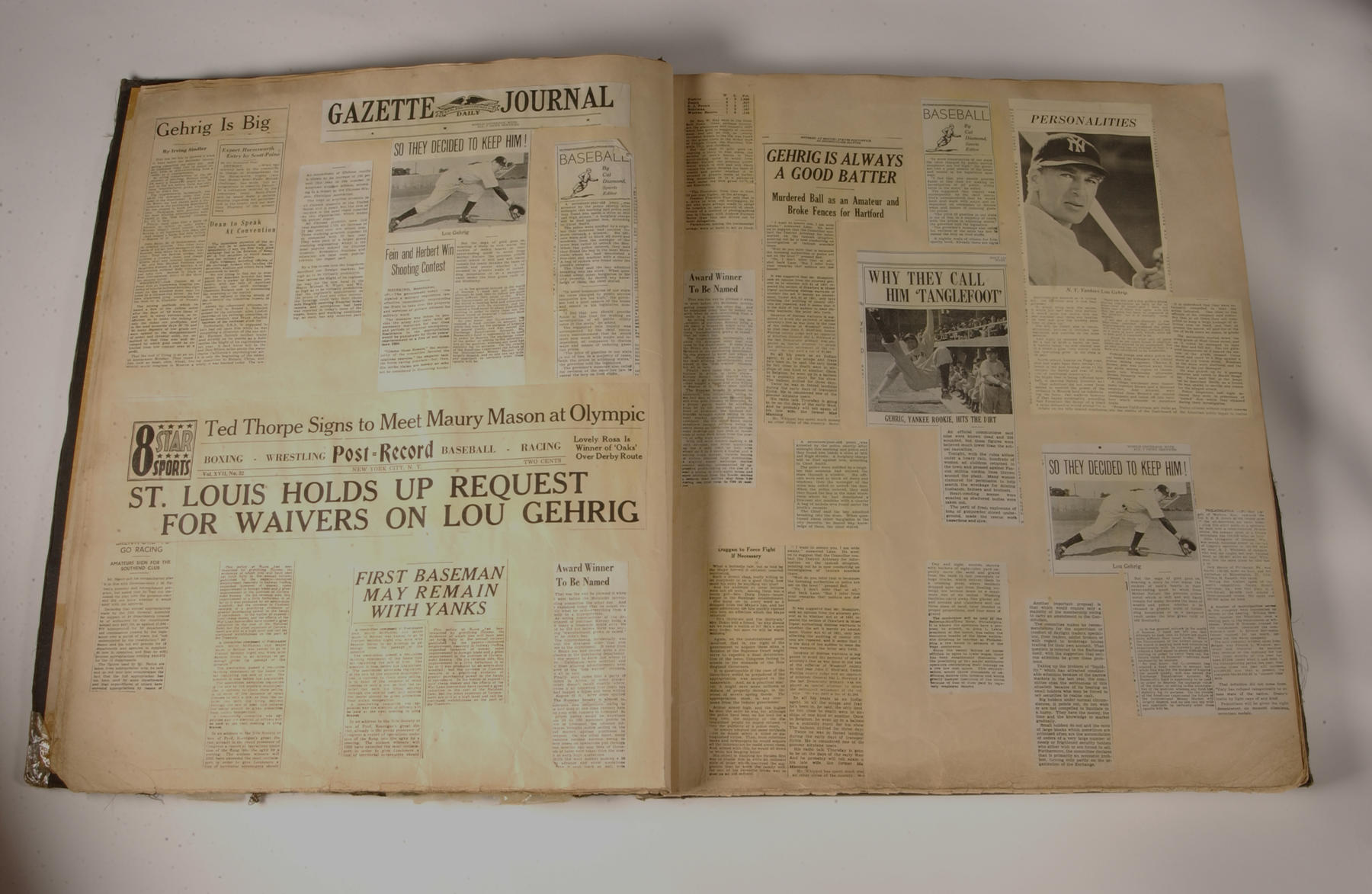 """The Hall of Fame Library contains not only Eleanor Gehrig's original scrapbook documenting her husband's career but also this movie prop scrapbook -- based on the original -- used in """"Pride of the Yankees."""" (Milo Stewart Jr., National Baseball Hall of Fame Library)"""