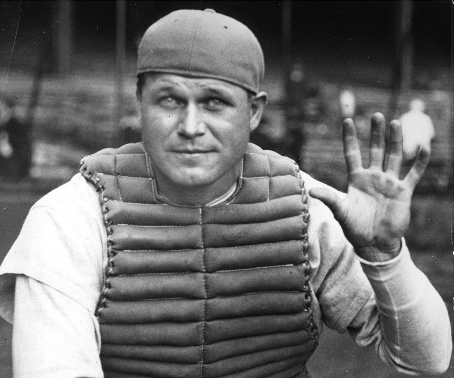 Primarily a first baseman, Jimmie Foxx spent 108 games behind the plate. In Foxx's 20-year career, he brought home three Most Valuable Player Awards and was a nine-time All-Star. (National Baseball Hall of Fame and Museum)