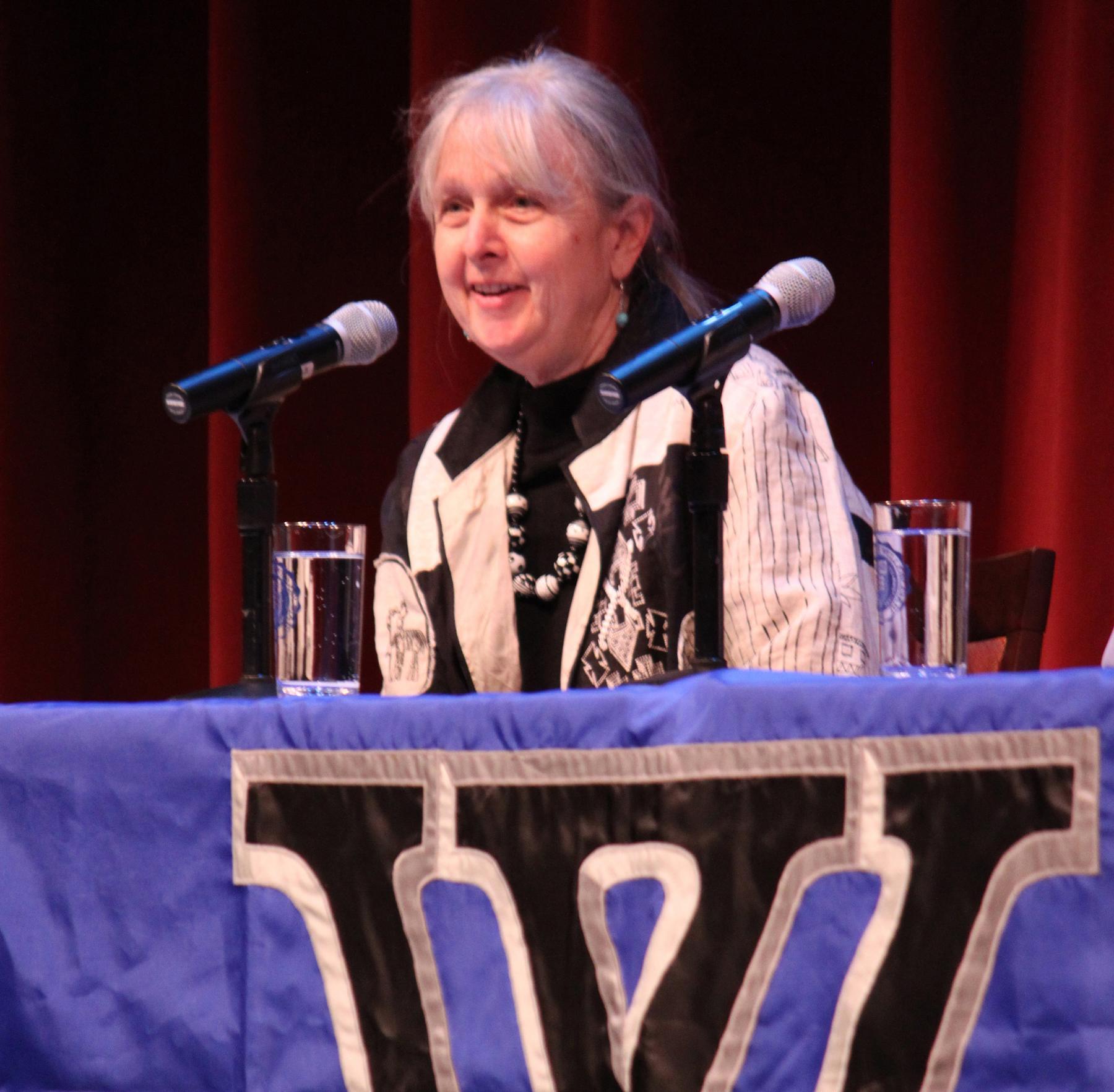 Melissa Ludtke speaking at her alma mater, Wellesley College. (Alex Hatem)