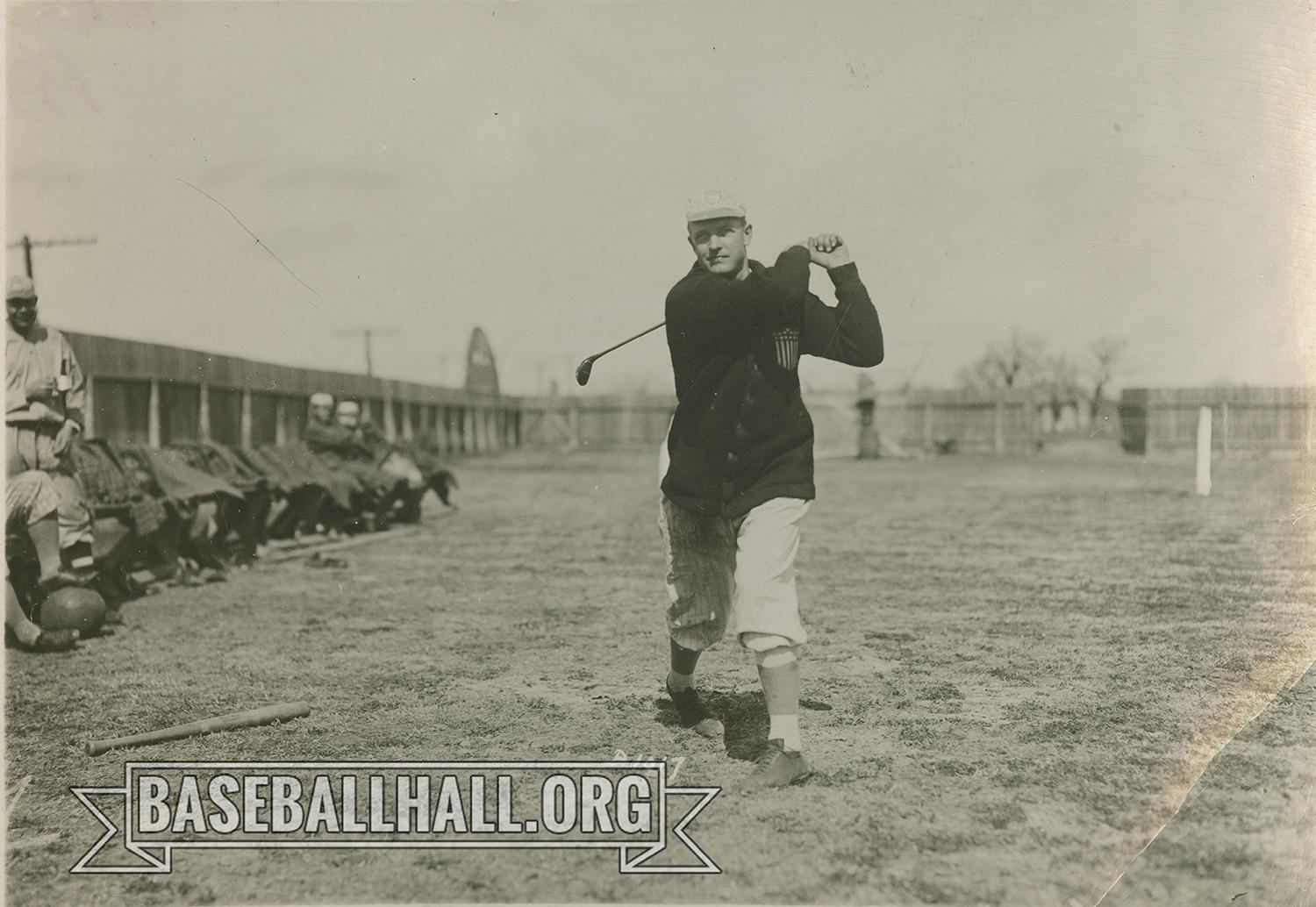 """Hall of Famer Christy Mathewson swings a golf club as his teammates look on. <a href=""""https://collection.baseballhall.org/PASTIME/christy-mathewson-photograph-1919-3"""">PASTIME</a> (National Baseball Hall of Fame and Museum)"""