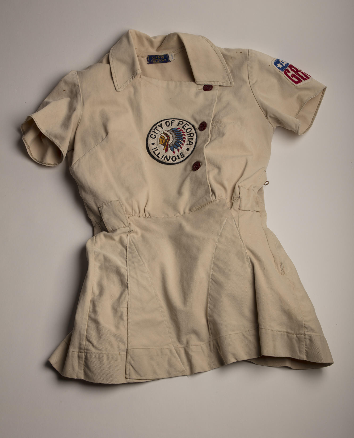 This Peoria Redwings tunic was worn by Annabelle Lee, who played for the team from 1946-1947 and from 1949-1950. (Milo Stewart Jr. / National Baseball Hall of Fame and Museum