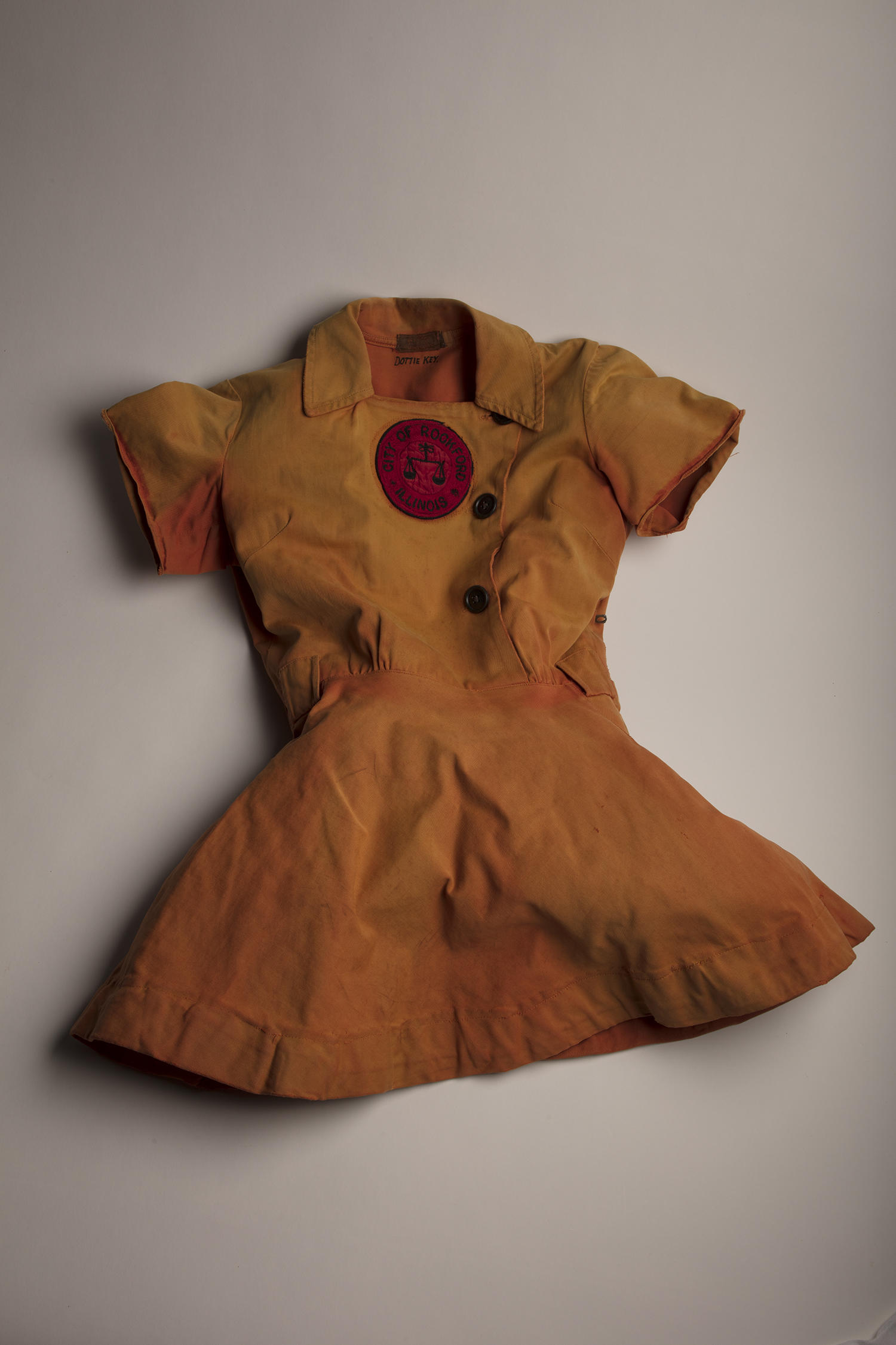 This uniform tunic was worn by Dottie Key during her 10 seasons with the Rockford Peaches (1945-1954). (Milo Stewart Jr. / National Baseball Hall of Fame and Museum)