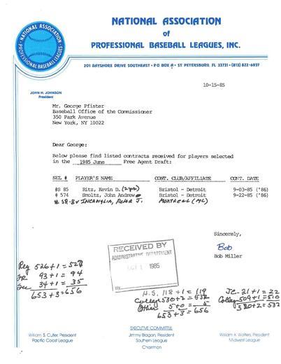 Cooperstown Pfister MLB Draft Correspondence