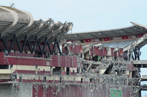 Candlestick Park shows signs of its slow demolition. ND3_5095. (Bob Busser / National Baseball Hall of Fame Library)