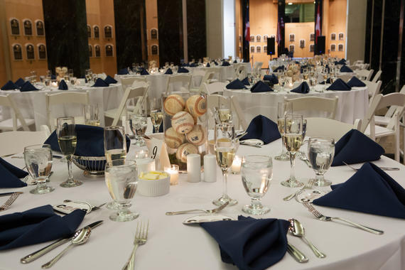 Table set for a wedding reception in the Hall of Fame Plaque Gallery.