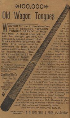 Advertisement for Spalding Wagon Tongue baseball bats from <em>Spalding's Official Base Ball Guide, 1888</em>. (National Baseball Hall of Fame)