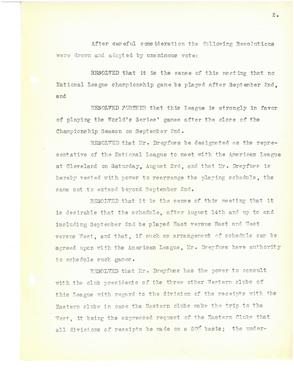 (2 of 3) Official minutes from a special meeting of National League club owners on Aug. 2, 1918 in which they resolved to end the season early on Sept. 2 of that year. BA MSS 55 (National Baseball Hall of Fame Archive)