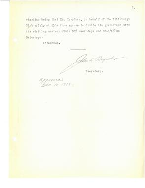 (3 of 3) Official minutes from a special meeting of National League club owners on Aug. 2, 1918 in which they resolved to end the season early on Sept. 2 of that year. BA MSS 55 (National Baseball Hall of Fame Archive)