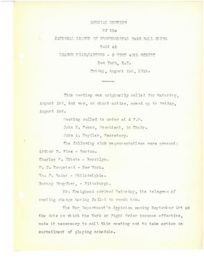 (1 of 3) Official minutes from a special meeting of National League club owners on Aug. 2, 1918 in which they resolved to end the season early on Sept. 2 of that year. BA MSS 55 (National Baseball Hall of Fame Archive)