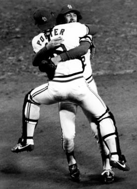 St. Louis Cardinals catcher Darrell Porter jumps into the arms of pitcher Bruce Sutter after Sutter recorded the final out of Game 7 of the 1982 World Series. (National Baseball Hall of Fame and Museum)