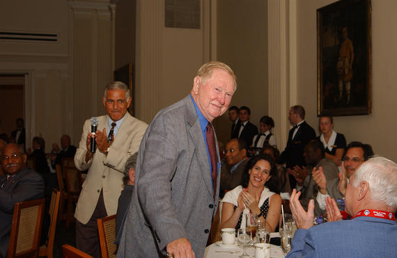 Red Schoendienst is recognized during a reception at the Otesaga Resort Hotel during Hall of Fame Weekend in 2004. (Milo Stewart Jr./National Baseball Hall of Fame and Museum)