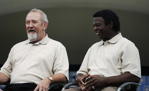 Lou Brock shares a laugh with fellow Cardinals legend Bruce Sutter during Hall of Fame Weekend 2006 in Cooperstown. (Milo Stewart Jr./National Baseball Hall of Fame and Museum)
