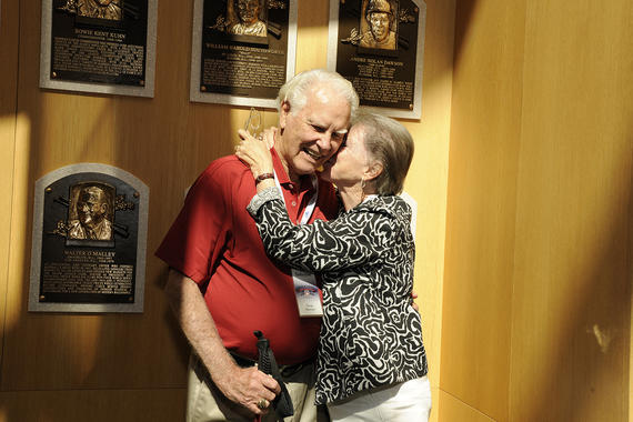 Doug Harvey pictured with his wife Joy in the Plaque Gallery during Hall of Fame Weekend in 2010. (Milo Stewart Jr./National Baseball Hall of Fame and Museum)