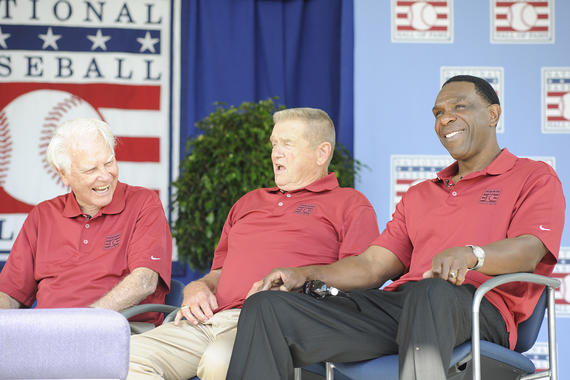 Doug Harvey (far left) sits beside Whitey Herzog and Andre Dawson (far right) during the <em>Legends of the Roundtable</em> event in 2010. (Milo Stewart Jr./National Baseball Hall of Fame and Museum)