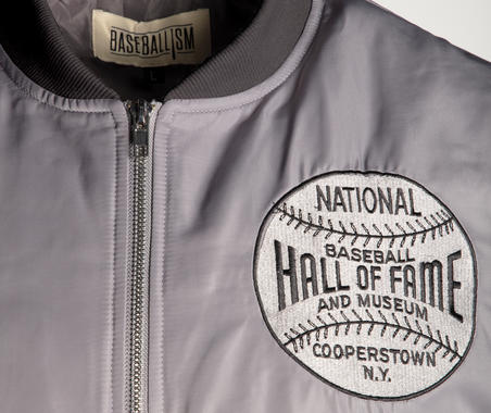 This exclusive bomber jacket is crafted for Baseball Hall of Fame members in collaboration with Baseballism®.