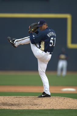 Trevor Hoffman went from a minor league shortstop playing in the Cincinnati organization to one of the most successful relievers in baseball history. (Brad Mangin/National Baseball Hall of Fame and Museum)