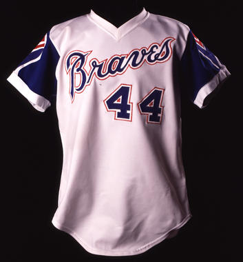 Hank Aaron wore this jersey on April 8, 1974, when he hit his 715th career home run. (Milo Stewart Jr./National Baseball Hall of Fame and Museum)