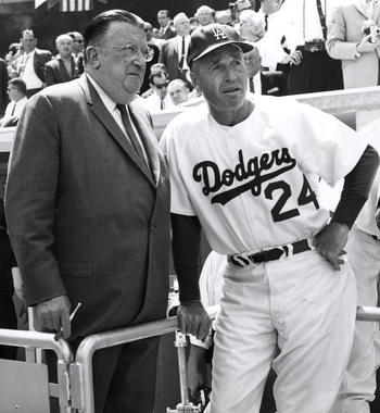 Walter Alston (right) and Walter O'Malley teamed up to lead the Dodgers to four World Series titles. Alston was elected to the Hall of Fame in 1983, and O'Malley joined him in Cooperstown in 2008. (National Baseball Hall of Fame and Museum)