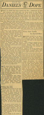 A column written by Dan Daniel in the Feb. 4, 1936 edition of the <em>New York World-Telegram</em>, in which he argues that Babe Ruth should have received more votes than Ty Cobb. (National Baseball Hall of Fame Library)