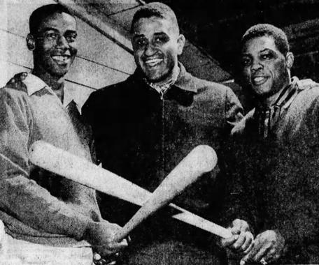 Ernie Banks (left), Don Newcombe (center) and Willie Mays pose following an exhibition game in Asheville, N.C. during their 1955 barnstorming tour. (Photo courtesy of <em>Asheville Citizen Times</em>)
