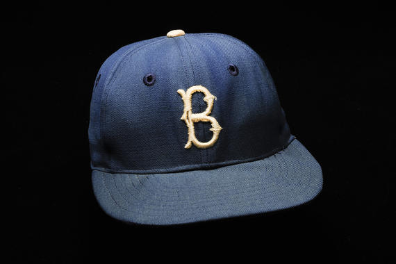 The hat worn by Jackie Robinson of the Brooklyn Dodgers during the 1955 World Series. (Milo Stewart Jr./National Baseball Hall of Fame and Museum)