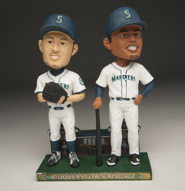 A joint bobblehead doll of Seattle Mariners stars Ichiro Suzuki (left) and Ken Griffey Jr. given to fans during the 2010 season. B-2254-2010 (Milo Stewart, Jr. / National Baseball Hall of Fame Library)