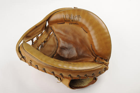 This catcher's mitt was designed to handle Hoyt Wilhelm's knuckleball, and was used by Baltimore catcher Clint Courtney in 1960. (Milo Stewart Jr. / National Baseball Hall of Fame)