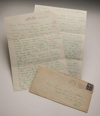 Leroy Jacobsen of Oak Park, Ill., got a reply from Cobb in May 1953, written in his signature green ink. This letter, as well as its envelope and another note from Cobb sent in June 1953, were recently donated to the Baseball Hall of Fame's Library.  (Milo Stewart Jr. / National Baseball Hall of Fame)