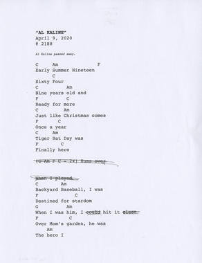 The first page of lyrics for Jeff Daniels' song