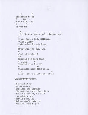 The second page of Jeff Daniels' lyric sheet for his song