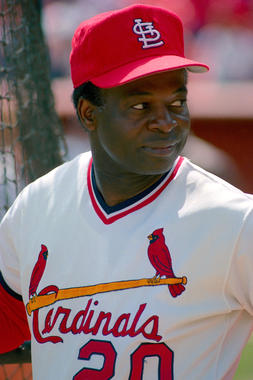 Lou Brock played 16 of his 19 big league seasons with the Cardinals, winning eight NL stolen base titles and earning six All-Star Game selections. (Brad Mangin/National Baseball Hall of Fame and Museum)