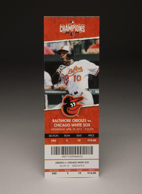 Tickets were made for the April 29 game in Baltimore, but fans couldn't redeem them as they were prohibited from entering Camden Yards. B-75-2015. (Milo Stewart Jr./National Baseball Hall of Fame and Museum)
