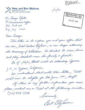 A handwritten letter penned by future Hall of Fame pitcher Bert Blyleven to MLB executive George Pfister in 1991, in which he states his son Todd's intent to enter the June draft. (National Baseball Hall of Fame Library)