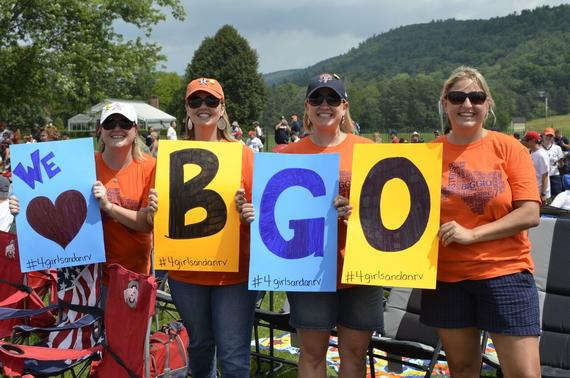 Fans from Houston cheer on Class of 2015 inductee Craig Biggio, who played his entire 20-year career with the Astros. Biggio is the first Astro to be inducted to the Hall of Fame. (Josh Szot / National Baseball Hall of Fame)